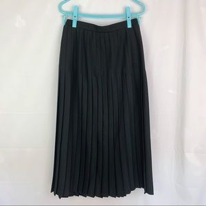 Vintage 80's Wool Blend Black Pleated Midi Skirt